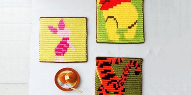 ぷっくりとした編み地がキュートなニットマット ぷっくりディズニーニットマットPart2